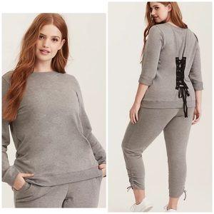 Torrid Active grey back lace up sweatshirt